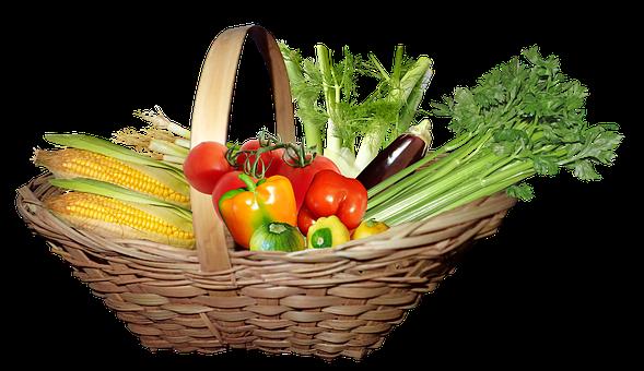 Basket, Vegetables, Food, Diet, Nutrition, Celery, Corn