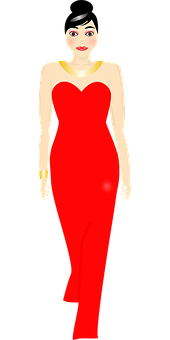 Woman, Dress, Red, Catwalk, Gown, Model, Pretty, Style