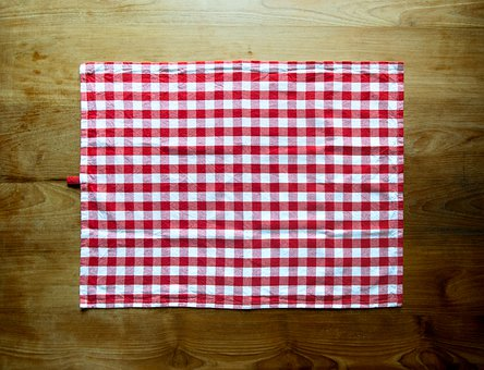 Plaid, Checkered, Fabric, Gingham, Red, White, Textile