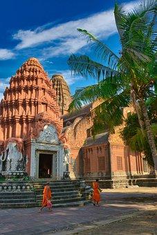 Monks, Monastery, Religion, Reap, Phnom, Cambodia