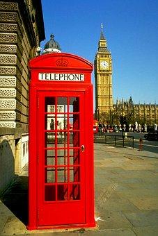 Phone Booth, City, Street, Pavement, Big Ben