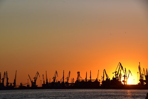 Sea, Port, Sunset, Ship, Cranes, Containers
