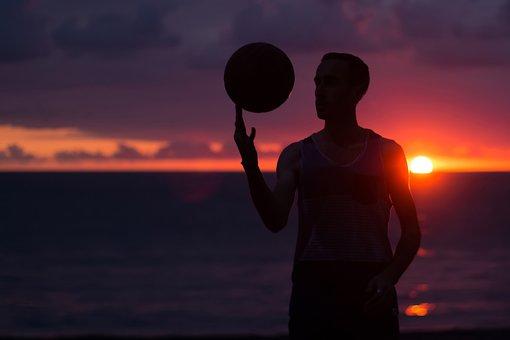 Sunset, Ball, Basketball, Seaside, Sports, Hobby