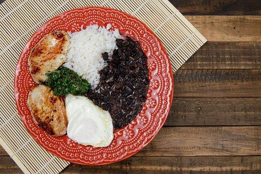 Rice, Beans, Pork, Egg, Cabbage, Ingredient, Meal, Food