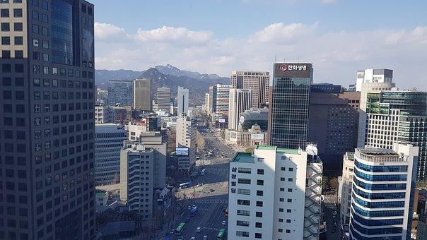 Skyline, Republic Of Korea, Seoul, Myeongdong, Korea