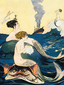 Mermaids, Ocean, Liner, Ship, Sea, Fantasy, Mystical