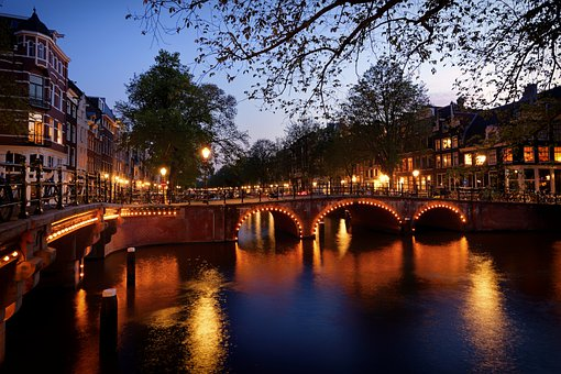 Amsterdam, Bridge, Channel, City, Night, Light