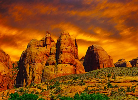 Moab Utah, Red Sandstone, Rock Formation, Geology