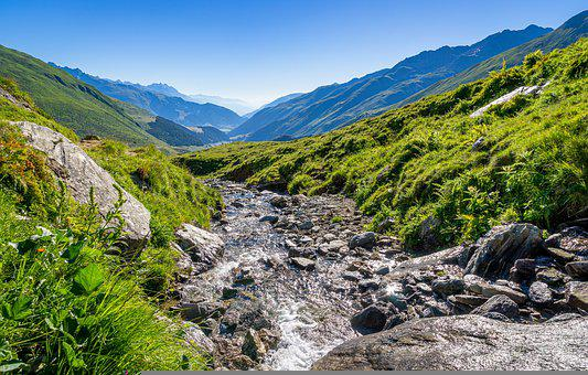 Mountain, Stream, Water, Rhine, Stones, Alpine, Rock