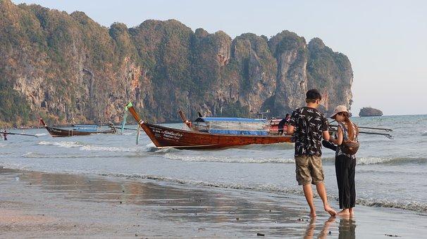 Couple, Boat, Beach, Walk, Romantic, Thailand