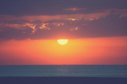 Clouds, Sky, Dawn, Sun, Sea