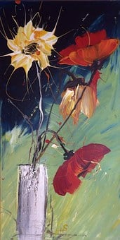 Acrylic Painting, Summer Flowers, Own Production