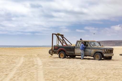 Sand, Truck, Fishermen, Vehicle, Offroad, Beach