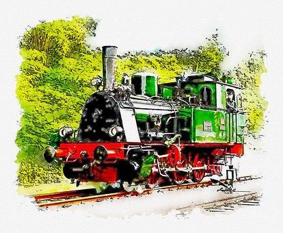 Locomotive, Train, Watercolor, Landscape