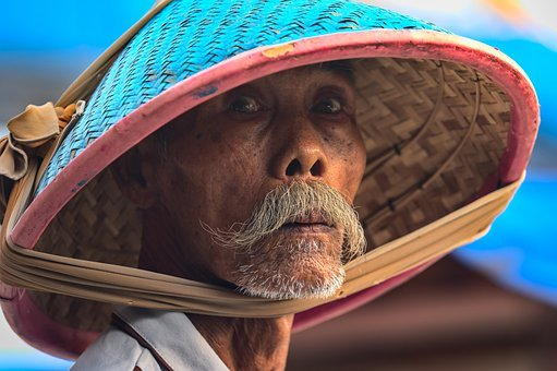 Old Man, Mustache, Beard, Bamboo Hat, Shady, Surprised