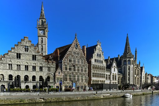 Architecture, Travel, River, Ghent, Belgium, City