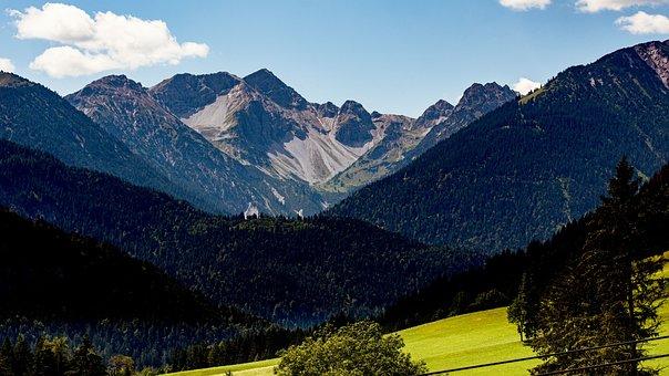 Alpine, Clouds, Austria, Mountains, Meadow, Sky