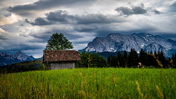 Hut, Meadow, Mountains