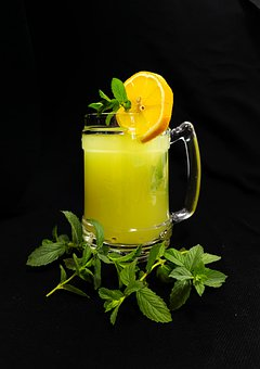 Lemonade, Drink, Beverage, Yellow, Green, Mint, Fresh