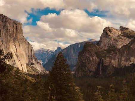 Valley, Forest, Nature, Yosemite