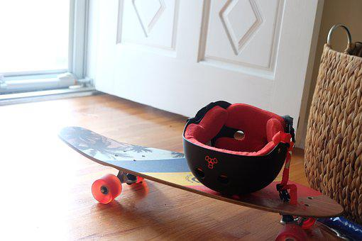 Skateboard, Helmet, Wheels, Entrance
