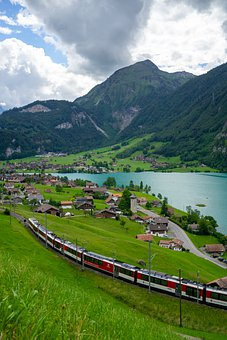 Switzerland, Swiss, Train, Landscape, Mountains, Water