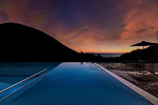 Pool, Summer, Greece, Water, Cloudy Sky, Landscape