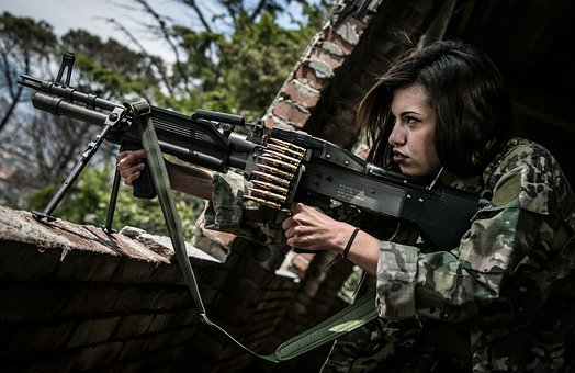 Woman, Soldier, War, Shooting, Warrior, Rifle, Weapon