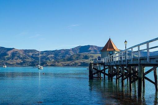 New Zealand, Pier, Town, Water, Beach, Landscape, Sea