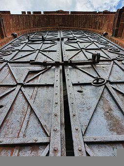 Gate, Iron, Metal, Castle, Hasp, Church, Old