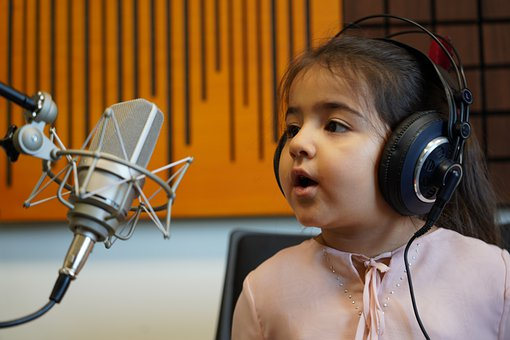 Child, Sing, Microphone, Recording, Headphones