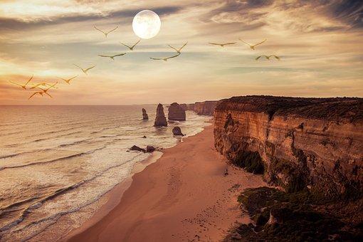 Cliffs, Moon, Beach, Birds, Nature, Summer Night, Sky