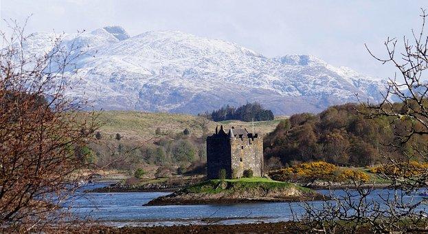 Castle, Lake, Mountains, Scottish, Scotland, Highlands