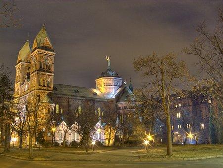 The Basilica, Church, Architecture, Katowice, Night