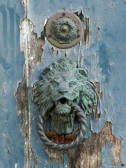 Door, Blue, Door Knocker, Knocker, Lion, Brass, Old