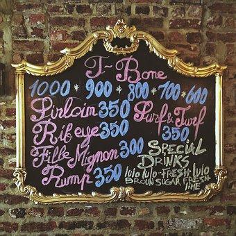 Menu, Restaurant, Steak, Frame, Wall, Gold, Food, Sign