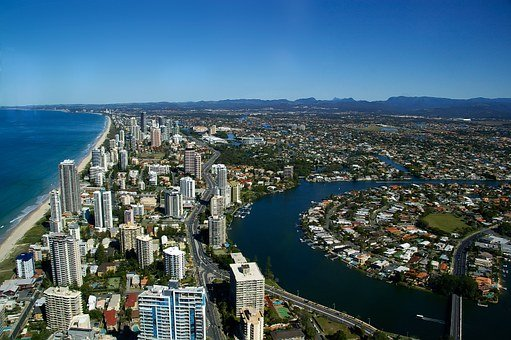 Gold Coast City, Coast, Ocean, Skyscrapers, Towers