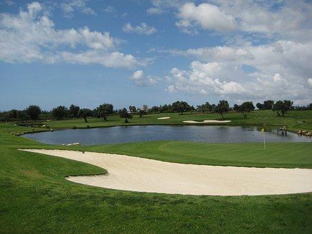 Golf, Golf Course, Green, Field, Grass, Sand Pit