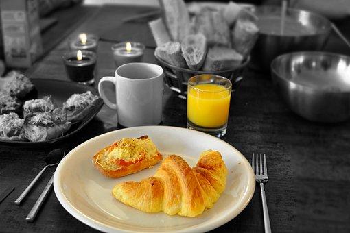 Continental, Breakfast, Croissant, Bread, Juice, Fruit