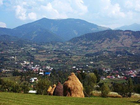 Haystacks, Landscape, Mountains, Cloud, Blue, Sky