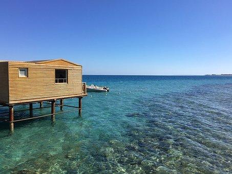 The Red Sea, Gradient, Hurghada, Sea, Log Cabin, Blue
