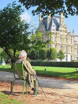 Old Man, Louvre Palace, Pavillon De Marsan, Lawn, Park