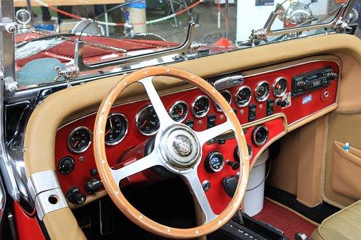 Oldtimer, Excalibur, Dashboard, Steering Wheel