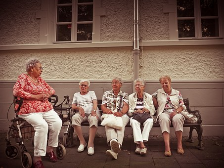 Pensioners, Retiree Inside, Age, Rest, Bank, Sit, Relax