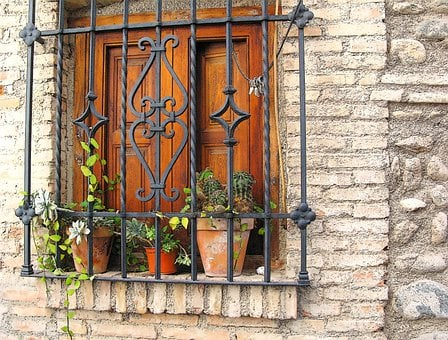 Picturesque, South, Granada, Spain, Potted Plants, Grid