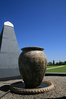 Urn, Large, Brown-white, Water Feature, Garden, Pot
