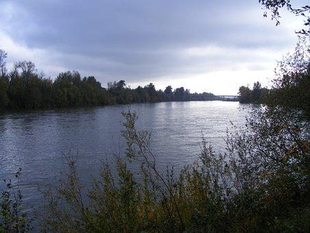 Willamette River, River, Clouds, Water, Bridge, Evening