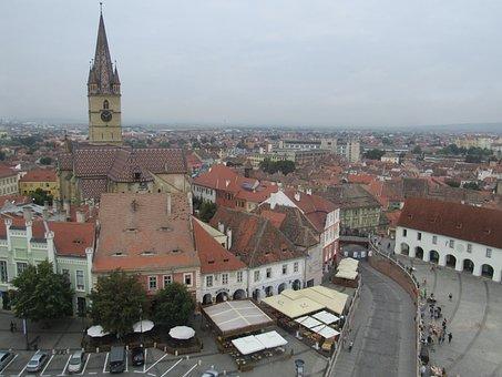 Sibiu, Transylvania, Romania, Panorama, Buildings