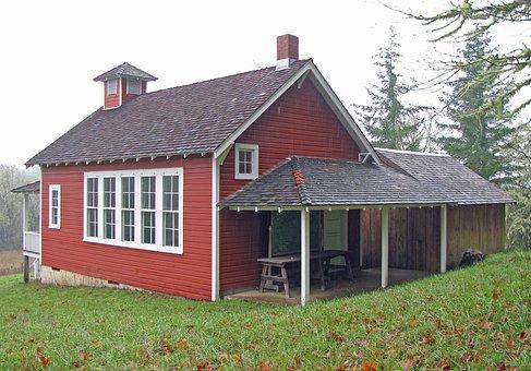 School, Schoolhouse, Red, Old, Oregon