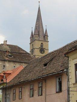 Sibiu, Transylvania, Roofs, Church Tower, Romania